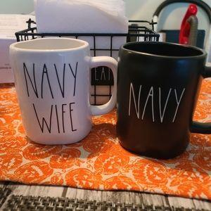 Rae dunn mug set navy and navy wife